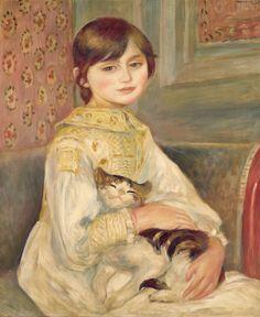 ピエール=オーギュスト・ルノワール≪ジュリー・マネの肖像、あるいは猫を抱く子ども≫ 1887年 オルセー美術館
