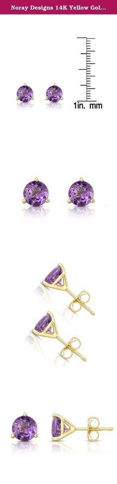 Noray Designs 14K Yellow Gold Amethyst Stud Earrings (6 MM; Round Cut; Martini Setting). These simple and beautiful stud earrings feature 6 mm round cut Amethyst gemstones in Martini setting, secured with butterfly backs. These lovely and darling stud earrings mounted in 14K Yellow Gold. These earrings are perfect for every day wear and will make a wonderful addition to your jewelry collection. The total carat weight may range from 1.80-2.00 carats. The product comes with a 30 Day seller...