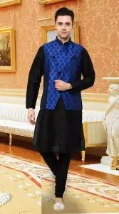 Perfect Black Art Dupian Kurta Pyjama With Nehru Waist Coat DTKPJ5550