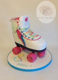 A replica cake of Robyn's birthday gift, her new roller skates. I remember mine at her age, I lived in them. Sadly I don't think I would look so cool thirty years on. Ha!