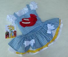 Dorothy Costume Dress-Wizard of Oz Birthday Party-Pageant Costume OOC, Ruby Slipper Applique, Blue Gingham, sizes 12 month through 10 Pageant Wear, Pageant Dresses, Girls Dresses, Toddler Pageant, Toddler Girl, Dorothy Wizard Of Oz, Twirl Skirt, Halloween Kostüm, Blue Gingham