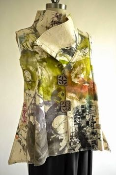 2015 Expo Vogue/Butterick Fashion Show. Artist-painted canvas used for vest pattern. Sewing Clothes, Diy Clothes, Clothing Patterns, Art Clothing, Vest Pattern, Textiles, Fashion Show, Fashion Design, Refashion