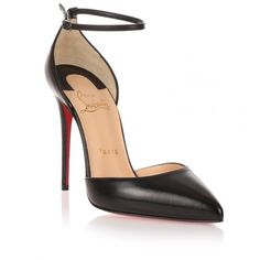 Christian Louboutin Uptown 100 Black Leather Pump (€570) ❤ liked on Polyvore featuring shoes, pumps, heels, louboutin, sapatos, black, d orsay pumps, high heel shoes, black pointy toe pumps and leather pumps
