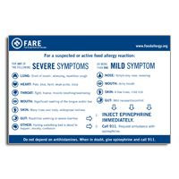 Common Symptoms of Anaphylaxis Magnet - Adapted from our widely-used Food Allergy & Anaphylaxis Emergency Care Plan, this magnet lists the most common symptoms of anaphylaxis and lists steps for what to do in an anaphylaxis emergency.