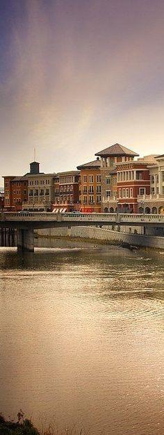Beautiful shot of downtown Napa's Riverfront.