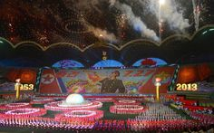 North Koreans perform during the Arirang Mass Games at the May Day Stadium in Pyongyang, as part of celebrations ahead of the 60th anniversary marking the end of the 1950-53 Korean War, in this photo taken by Kyodo July 22, 2013. (Photo by KYODO)