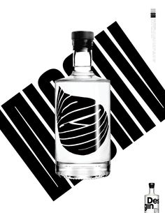 Campaign for Desgin. We ambitiously removed the label from the bottle, and used the bare bottle to manipulate typography which was set behind it. Each word used in the campaign includes the word 'GIN' to elicit new associations to modernity, inspiration a…