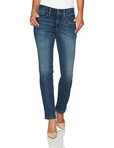 Women's Petite Size Marilyn Straight Leg Jeans