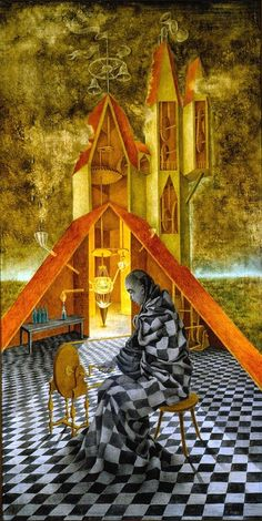 Remedios Varo (Spanish-Mexican painter) 1908 - 1963 Ciencia Inútil o el Alquimista (Useless Science or the Alchemist), 1955 oil on masonite 105 x 53 cm. (41.34 x 20.87 in.) private collection
