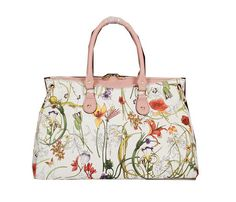 Gucci Flora Leather Medium Top Handle Bag 323688 Pink - $229.00