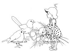 Coloring Page Adults or Kids  Little Girl by ToadstoolPrintables