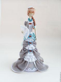 Купить Текстильная кукла.Тряпиенса.Изольда - голубой, тряпиенса, корейские тряпиенсы, текстильная кукла ♡