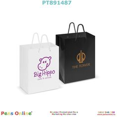 Strong medium-sized paper carry bag, with strong woven polypropylene rope handles: Branded with your logo by PensOnline in NZ Image Paper, Carry Bag, Medium Bags, Large Bags, One Color, Paper Shopping Bag, Screen Printing, Handle, Branding