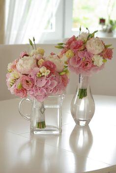 PETITE FLEUR DEKORACJE ŚLUBNE PŁOCK : Letni bukiet w odcieniach różu. Pink hydrangea, pe...