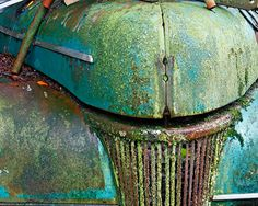 Mossy Vintage Car, Turquoise, Green, Rust, California, Photograph, Fine Art