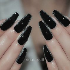 """Black and Diamond♥♥♥♥ @hudabeauty #hudabeauty #nails #gel"""