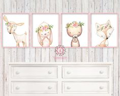 4 Deer Fox Bunny Rabbit Bear Woodland Boho Bohemian Floral Nursery Baby Girl Room Set Lot Prints Printable Print Wall Art Home Decor