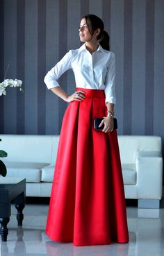 Online Shop Elegant Long Women Skirt Zipper Waist A Line Floor Length Full Maxi Skirt Red Pleated Skirt Customized Style Indian Gowns Dresses, Indian Fashion Dresses, Dress Indian Style, Indian Designer Outfits, Fashion Outfits, Fashion Ideas, Fashion Skirts, Fall Dresses, Long Skirt Fashion