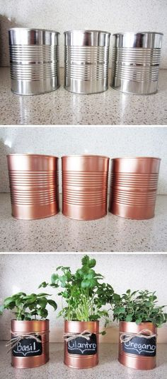 DIY Copper Tin Can Planters And Chalkboard Tags. DIY Copper Tin Can Planters And Chalkboard Tags. DIY Window Plant minutes planter Cute Ways To Decorate Spray Paint Projects, Diy Spray Paint, Spray Painting, Painting Tricks, Chalk Paint, Cheap Diy Home Decor, Home Decoration, Diy Decorations For Home, Balcony Decoration