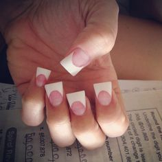 Pink and white acrylic nails flare tips