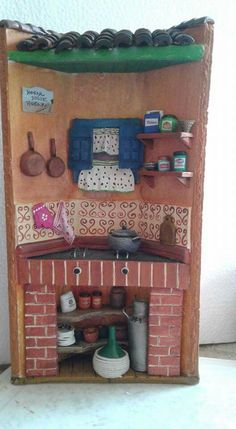 Tile Crafts, Fun Crafts, Diy And Crafts, Miniature Houses, Miniature Dolls, Decoupage, Clay Fairy House, Doll House Crafts, Clay Fairies