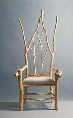 """Source: Daniel Mack Rustic furnishings (peeled maple branch chair in Gothic Revival style) TLC Home """"Cabin Decor Idea: All Aglow"""" -->Would be awesome w/drker stain"""