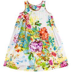 Buy Derhy Kids Girls' Floral Print Sleeveless Dress, White/Multi   John Lewis
