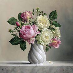 realistic rose painting flower by pieterwagemansa Art Floral, Flower Oil, Flower Vases, Peony Flower, Realistic Rose, 3d Painting, Ikebana, Beautiful Paintings, Art Pictures