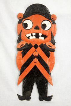 Antique German Halloween Pumpkin Pressed Die Cut  Decoration ca1920