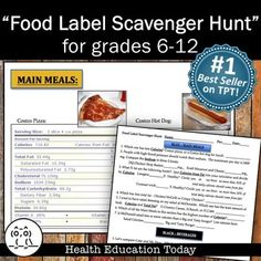 """Health Nutrition Lesson: Food Label Scavenger Hunt - 42 Food Labels to Read!  This is my best selling lesson!  This product is also the #1 best selling """"NUTRITION"""" lesson on TPT!"""