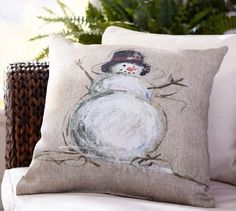 Painted Snowman Outdoor Pillow | Pottery Barn
