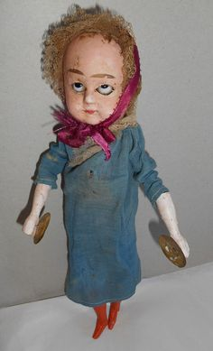 RARE Antique Doll Mechanical Automaton Toy  cymbal play wax head ALL ORIGINAL