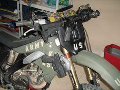 US Army KX250 Bug Out Bike with AR15... nice