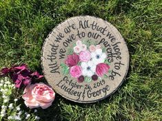 Personalized Wedding Garden Stone Gifts for Parents with ANY FLOWERS names, titles and dates! Bride And Groom Gifts, Groom And Groomsmen, Bride Groom, Painted Stepping Stones, Wedding Gifts For Parents, Anemone Flower, Flower Names, Parent Gifts, Garden Stones