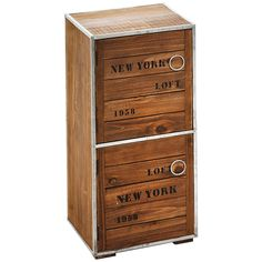 Cupboard Cabinet New York Loft Style With 2 Doors Wooden Storage NEW In Home