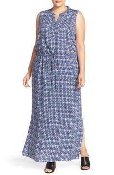 Caslon® Sleeveless Woven Maxi Dress (Plus Size)