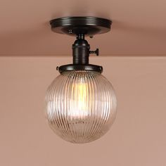 Semi Flush Light w/ 6 inch Holophane Glass Globe - Hand Finished in Oil Rubbed Bronze - Lighting for Low Ceilings - Downrod Option
