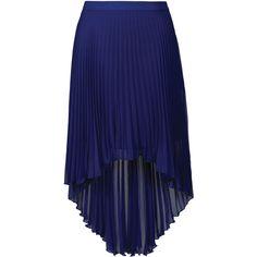 Royal Blue Pleated Dip Hem Skirt ❤ liked on Polyvore