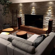 Living Room Designs Interior Design Ideas after Interior Design Ideas For Kitchen And Living Room Living Room Interior, Home Living Room, Living Room Decor, Stone Wall Living Room, Modern Small Living Room, Masculine Living Rooms, Small Media Rooms, Kitchen Interior, Home Room Design