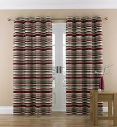 Chenille Striped Eyelet Curtain-Marks & Spencer