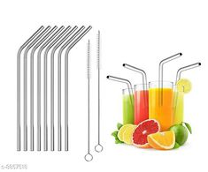Cleaning Brushes Reusable Stainless Steel Drinking Straws Combo Bent (8 Bent Straws, 2 brush)   Material: Stainless Steel  Diameter: 6 mm Description: 8 Bend Straws , 2 Cleaning Brush Length: 8 in Dispatch: 2-3 Days Sizes Available: Free Size *Proof of Safe Delivery! Click to know on Safety Standards of Delivery Partners- https://ltl.sh/y_nZrAV3  Catalog Rating: ★4.4 (326)  Catalog Name: Free Mask Bpa Free Reusable & Eco-Friendly Stainless Steel Straw CatalogID_540454 C132-SC1592 Code: 072-8857518-