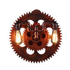 2 Heads Vintage Industrial Wall Lights Wood Gear Shape Lights Restaurant Cafe Bar Decoration Wall Sconces 5591867 2017 – $157.99