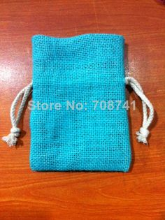 "SIZE:10X15cm(4""x6""),Blue Color jute burlap drawstring bag with cotton drawstring , Custom logo,size and bag design acceptable $89.00"