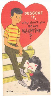 Vintage Valentine Card Boy Cocker Spaniel Dog Doggone Die Cut for Children | eBay