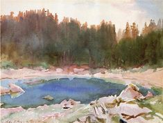 Lake in the Tyrol by John Singer Sargent. Impressionism. landscape. Private Collection