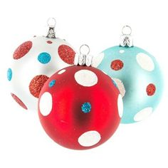 Aqua, Red & White Ball Ornaments with Dots Red Christmas Ornaments, Turquoise Christmas, Whimsical Christmas, Grinch Christmas, Christmas Tree Themes, Ball Ornaments, Christmas Balls, Christmas Colors, White Christmas