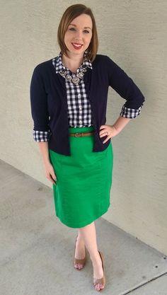 Gingham & Green. Modest Outfit Ideas. Modern Modesty Blog.