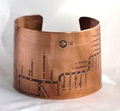 Chicago CTA Map Copper Cuff Bracelet  Brown Line by fugudesigns, $50.00