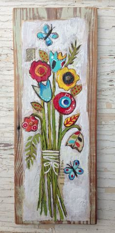 Floral Folk Art Reclaimed Heart Pine by evesjulia12 on Etsy