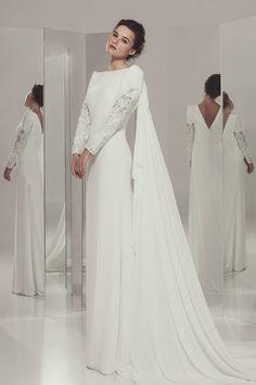 Amada - Ivan Campaña - Vestido de novia recto con manga larga #novias #mangas #noviassencillas #noviasespeciales #ivancampaña